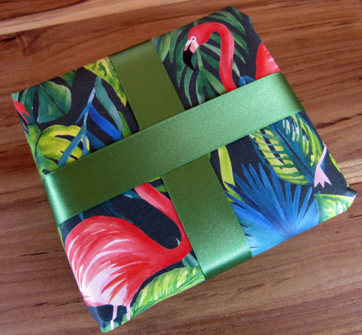 Flamingo Wrapper Paper with Clover Satin Ribbon