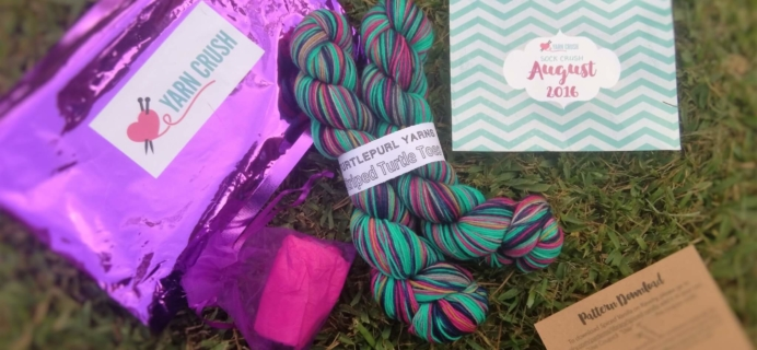 Sock Crush by Yarn Crush August 2016 Subscription Box Review + Coupon