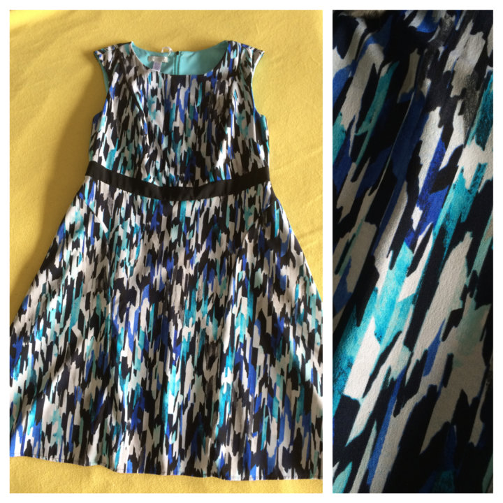 LONDON TIMES FIT & FLARE DRESS IN ABSTRACT IKAT