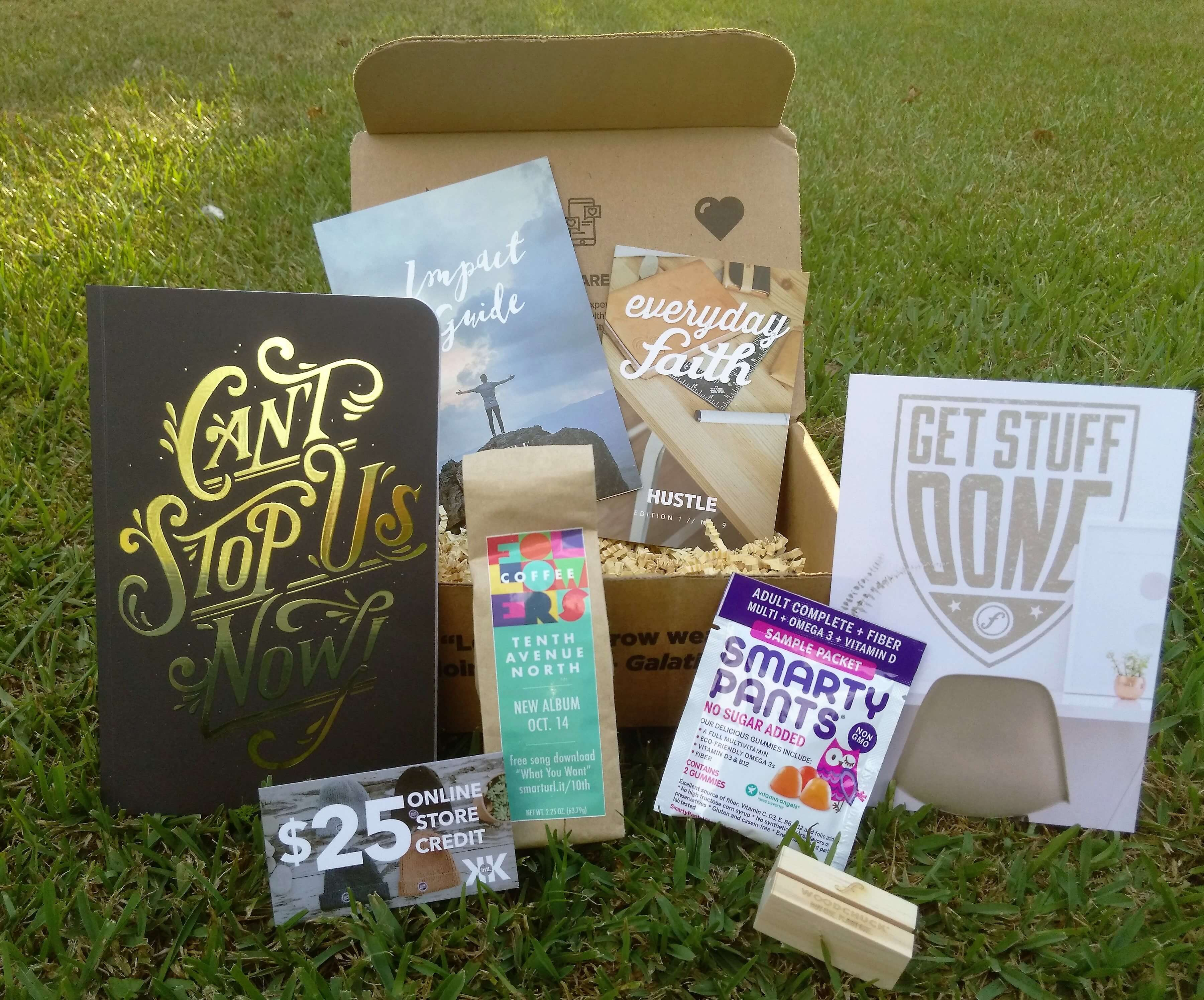 This is our June Faithbox theme - JOY Our boxes always Includes our impact guide to explain all items in the box plus our spiritual inventory card. Follow along with our 31 day Everyday Faith Devotional based on JOY. This month's featured book is by Candace Payne, .