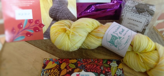 Sock Crush by Yarn Crush September 2016 Subscription Box Review + Coupon