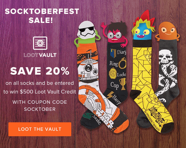 Loot Vault Socktoberfest Deal: 20% Off All Socks!