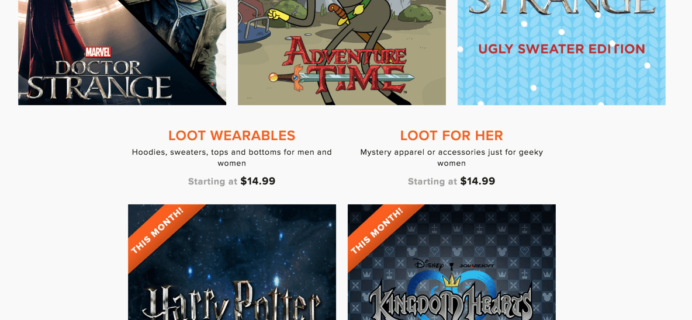 November 2016 Loot Wear COMPLETE Spoilers & Coupons – Ends Midnight Eastern!!