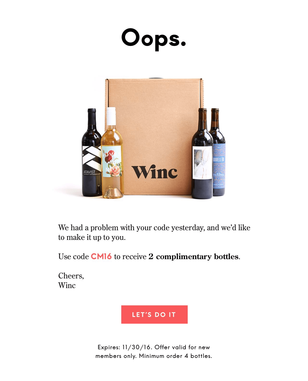 Winc Cyber Monday Deal EXTENDED!- 4 Bottles for $26!