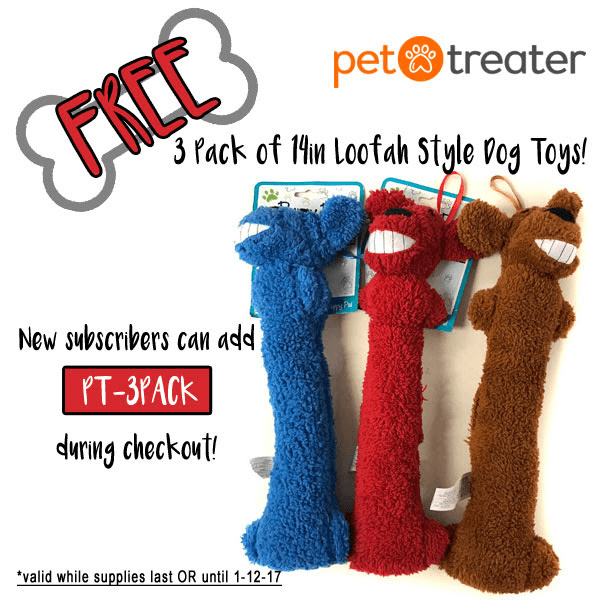 Pet Treater Coupon: Free 3-Pack of Loofah Toys