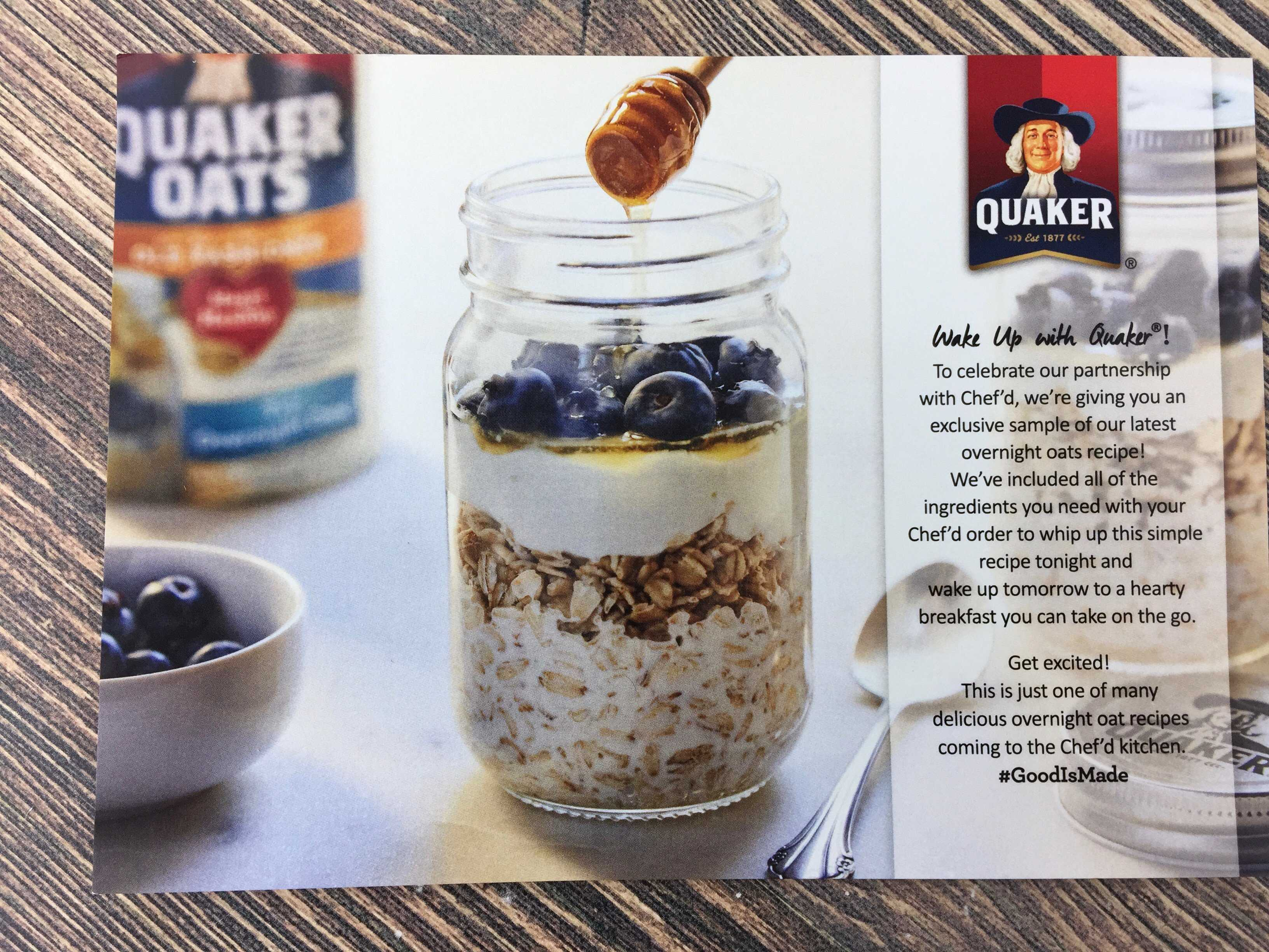 Chefd Box Review Coupon January 2017 Hello Subscription Quaker Instant Oatmeal Jar 1 Carton 12 Pcs P Trial Of A Oats Overnight Recipe The Included Booklet Had Several Variations On Basic But Our All Ingredients To