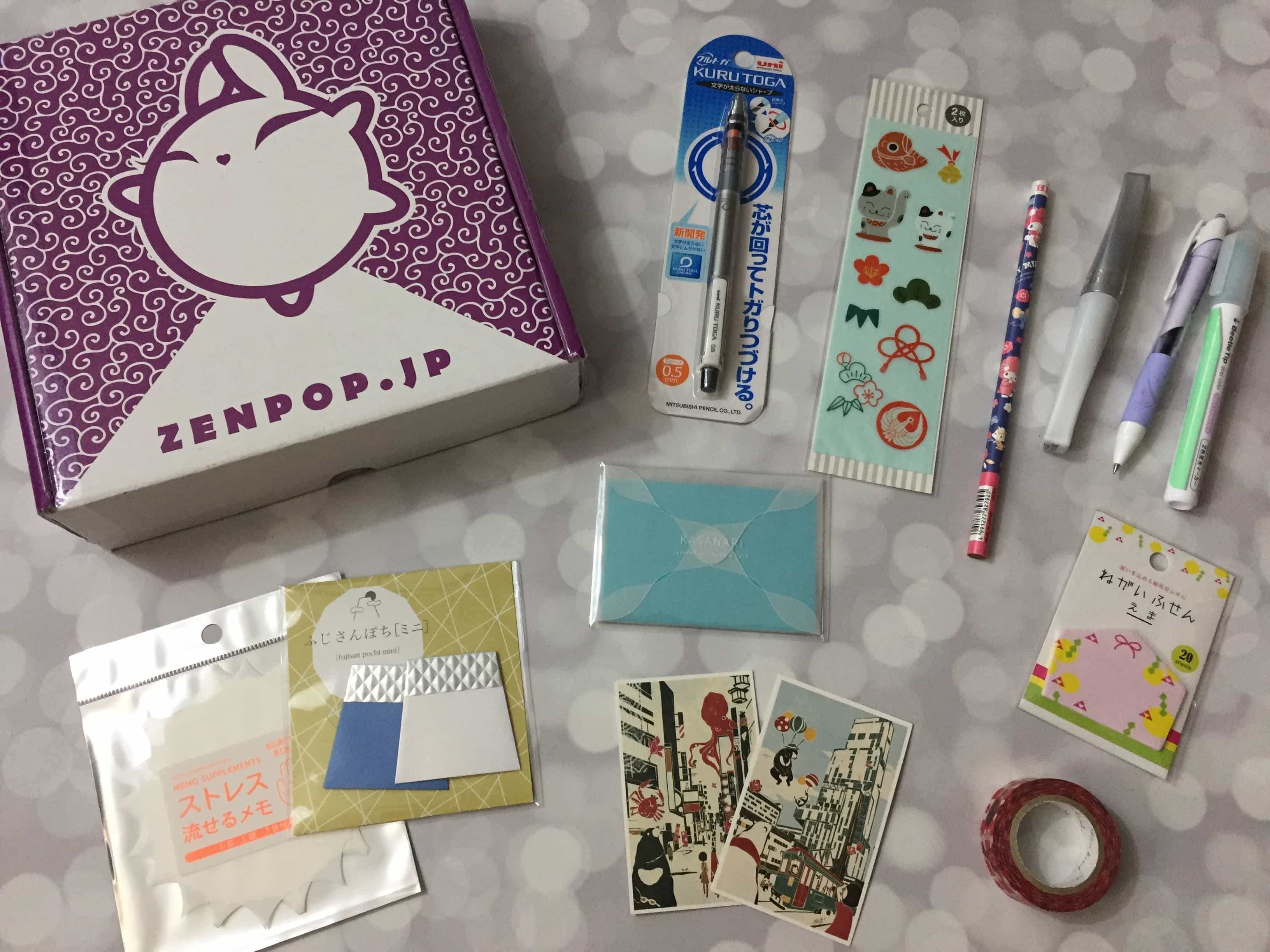 ZenPop Japanese Packs January 2017 Review – Stationery Box