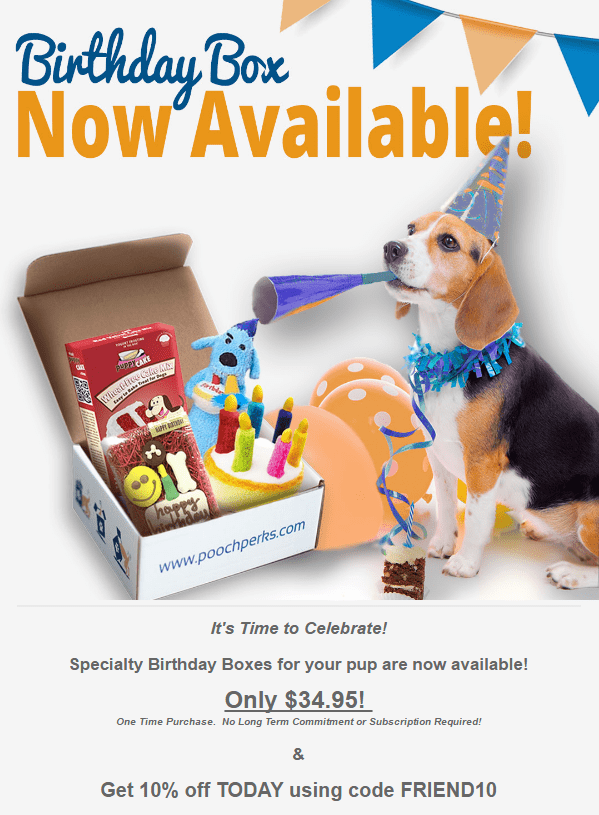 Pooch Perks Birthday Boxes Now Available + Coupon!