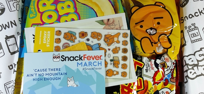 March 2017 Snack Fever Subscription Box Review + Coupon – Deluxe Box!