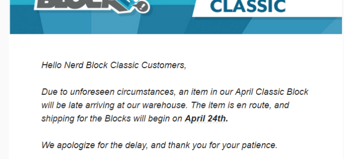 Nerd Block April 2017 Classic Block Shipping News