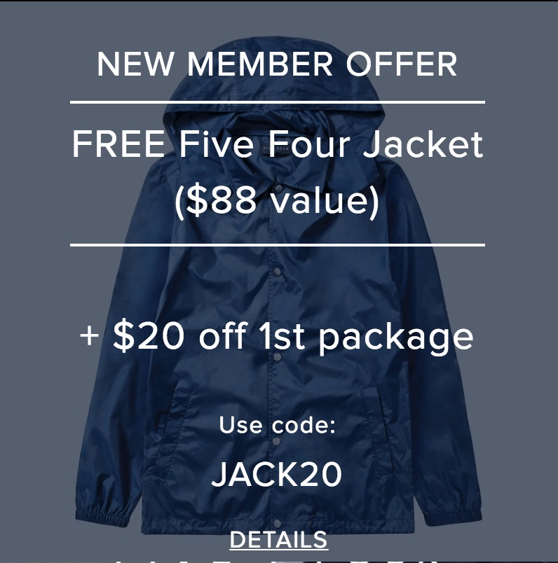 Five Four Club Deal: FREE Jacket + $20 off First Month!