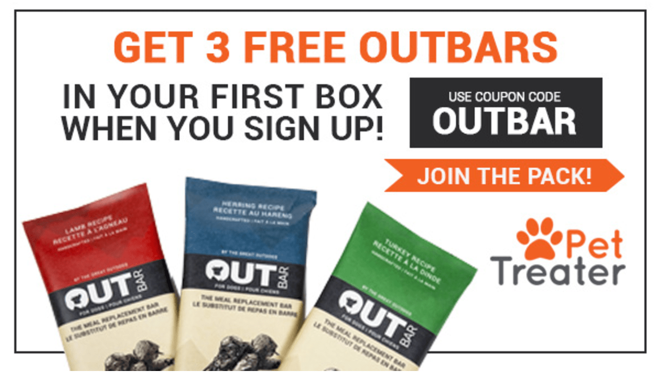 Pet Treater Coupon:Three Free OUT Bars With First Box!