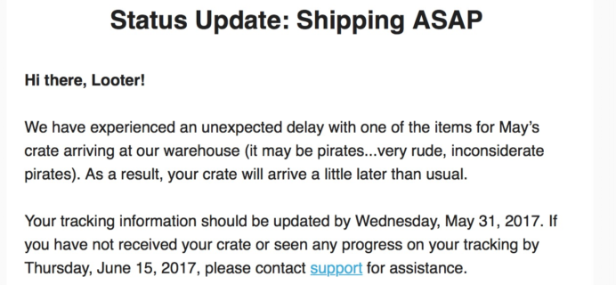 May 2017 Loot Crate DX Shipping Delay