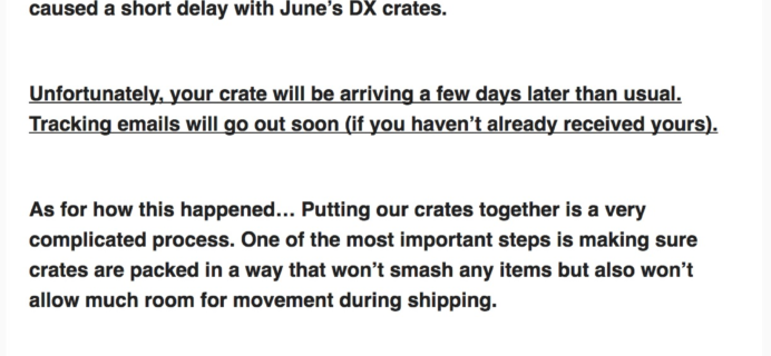 June 2017 Loot Crate DX Shipping Delay
