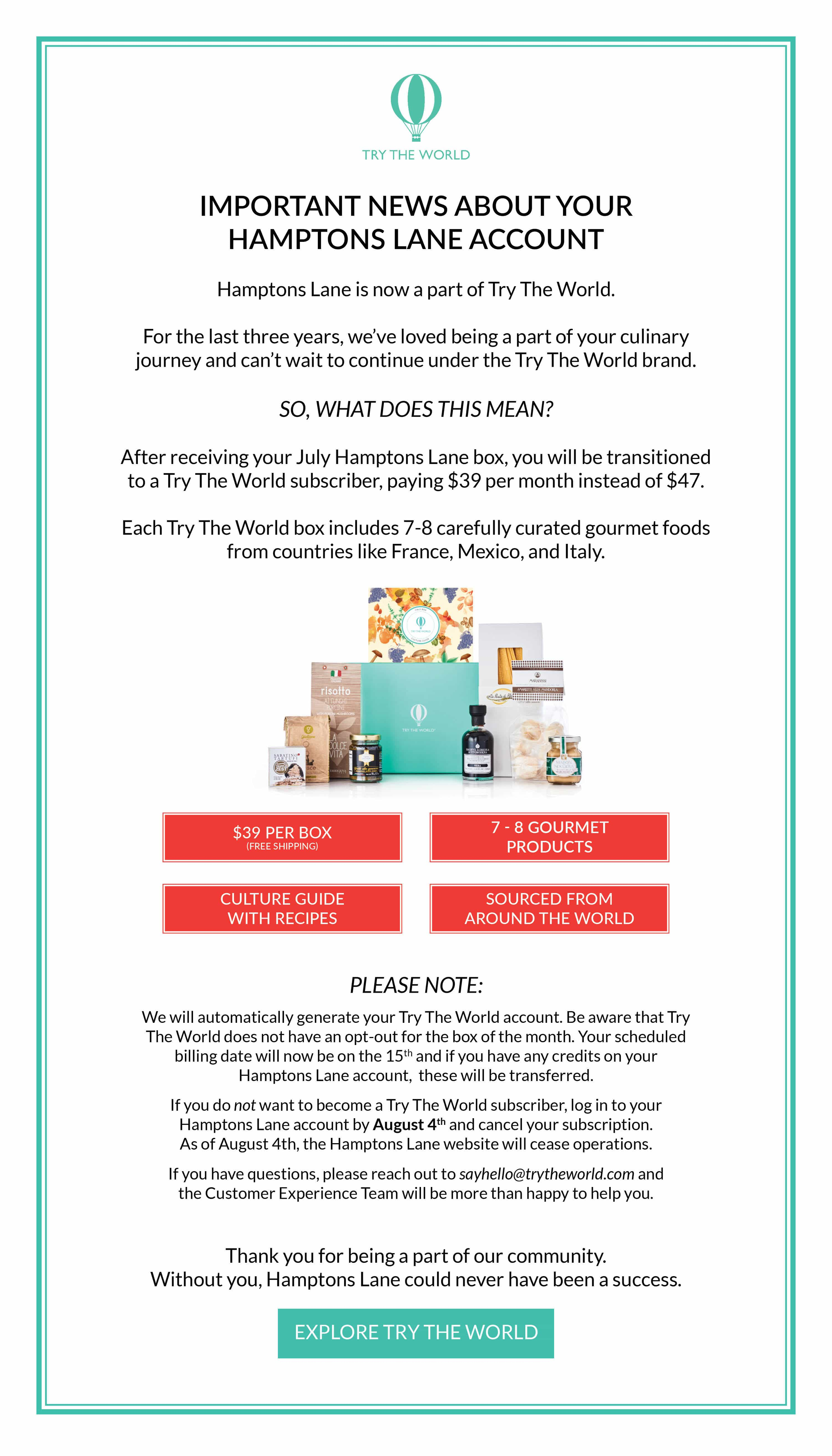 Hamptons Lane Subscriptions Ending – Now Part of Try The World!