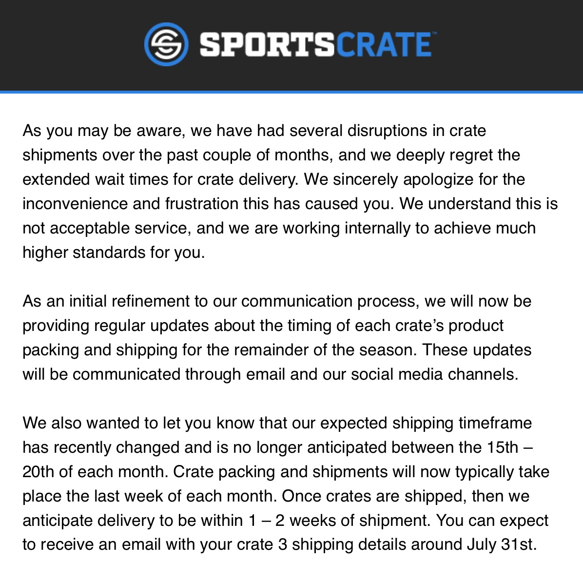 Sports Crate Shipping Update