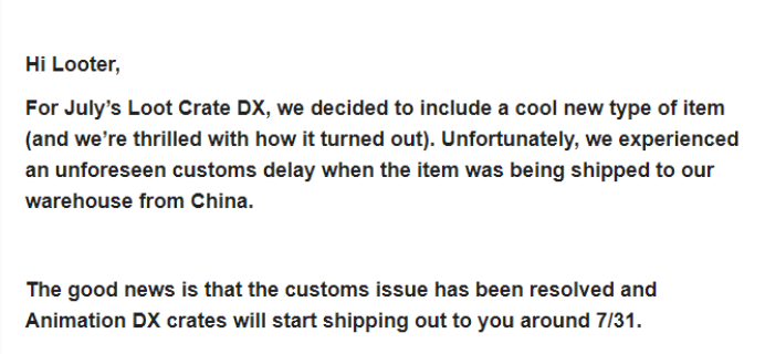 July 2017 Loot Crate DX Shipping Delay