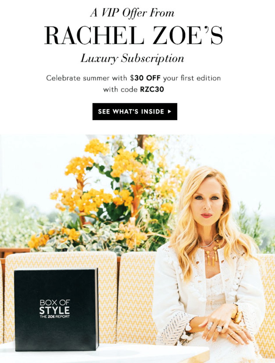 Rachel Zoe Box of Style Coupon: Save $30 On The Summer Box!