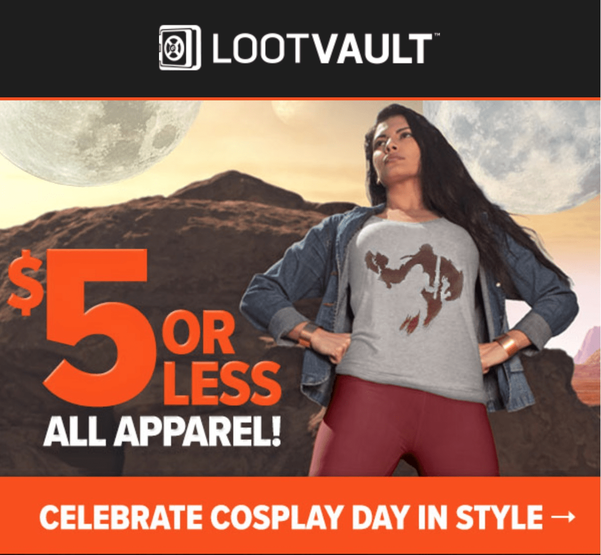 Loot Vault Cosplay Day Flash Sale: $5 or less ALL Apparel!