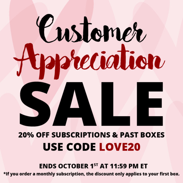 Cocotique Customer Appreciation Sale: 20% off all Subscriptions & Past Boxes!