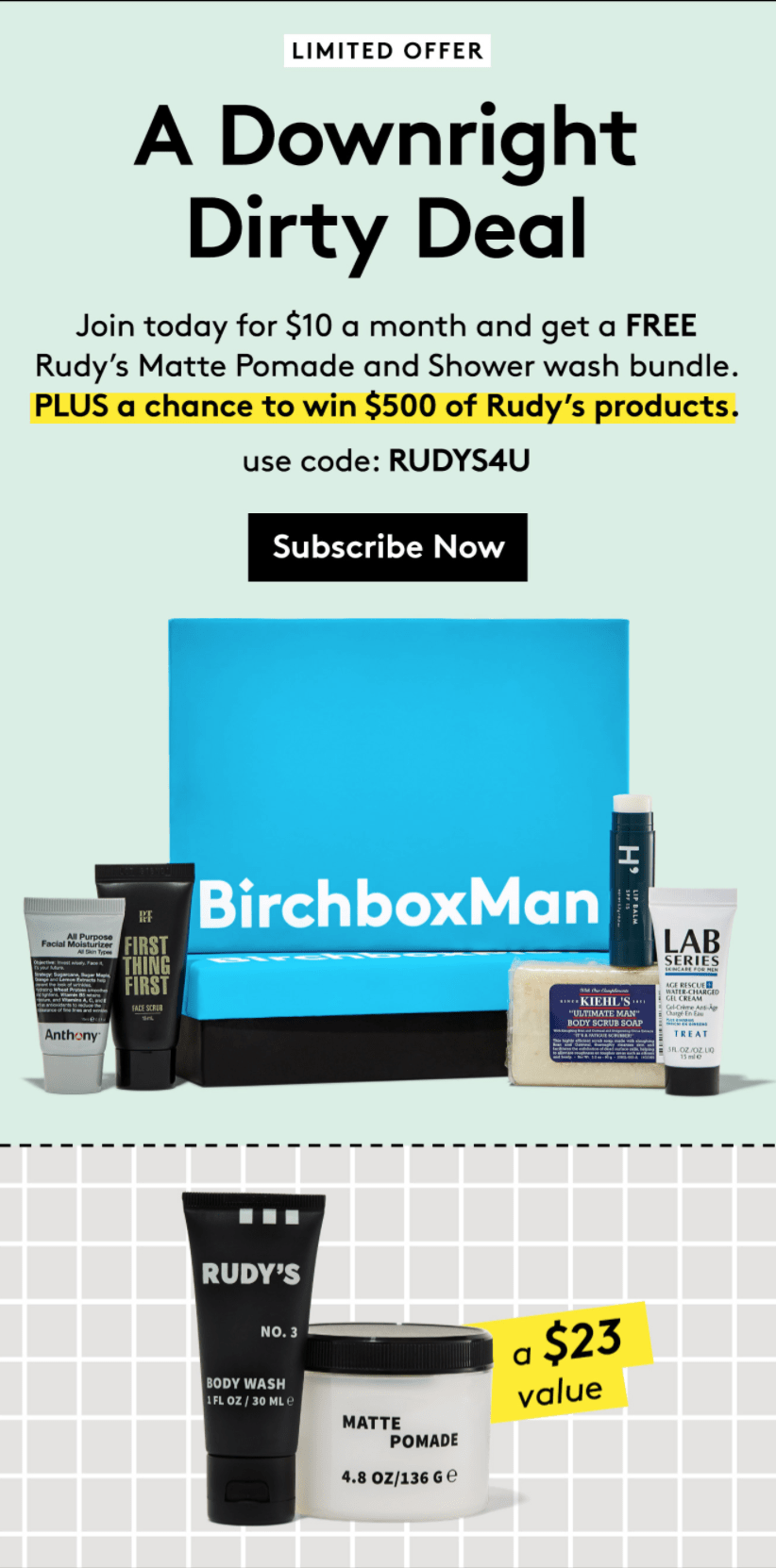Birchbox Man Coupon: Free Rudy's Bundle with Subscription!