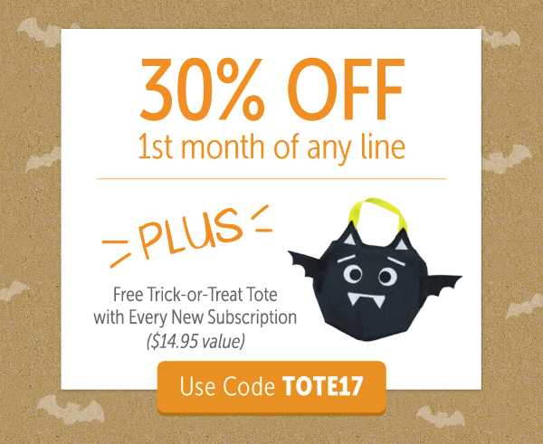 KiwiCo Coupon: 30% Off First Month + Free Trick or Treat Tote!