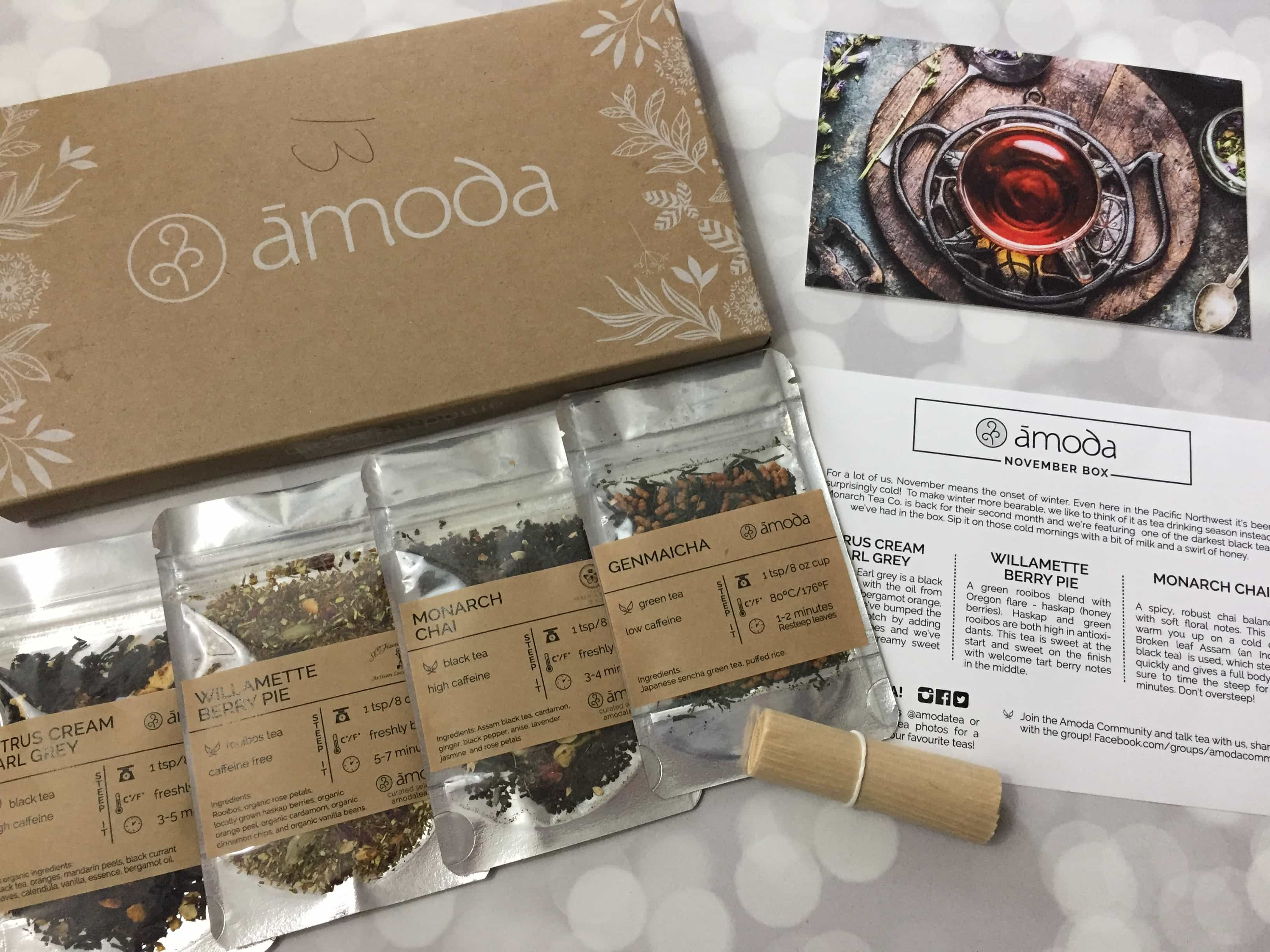 Amoda Tea November 2017 Subscription Box Review + Coupon!
