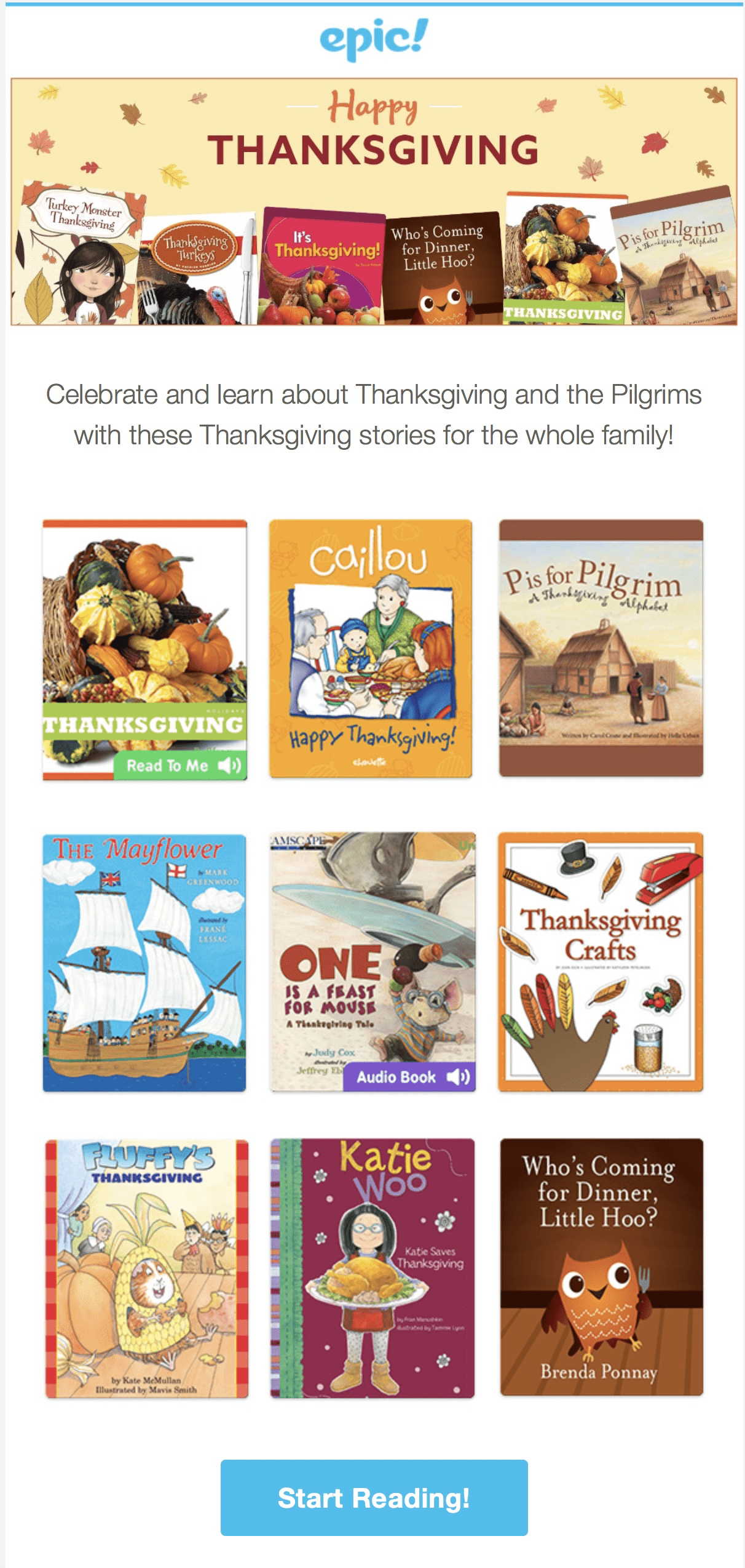 Epic! Kids Books – Thanksgiving Books Added + Get First Month FREE!