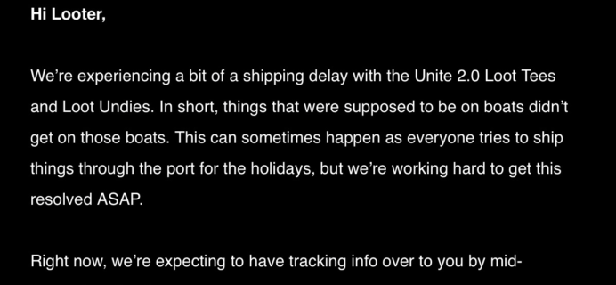 Loot Wear December 2017 Loot Tee +  Undies Shipping Delay