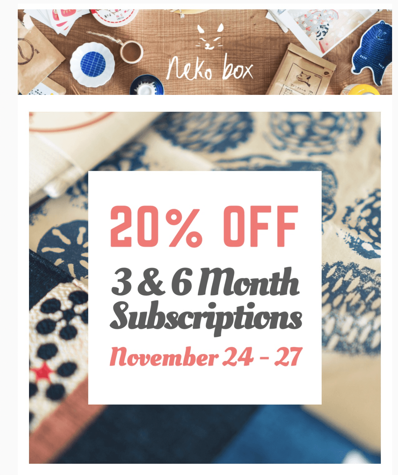 Neko Box Black Friday Coupon: 20% Off 3+ Month Subscriptions!