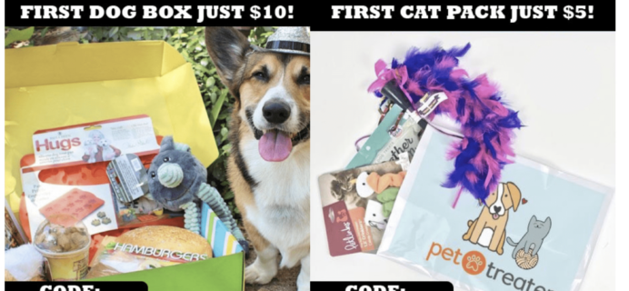 Pet Treater Cyber Monday Coupon: $10 First Dog Box or $5 Cat Pack!