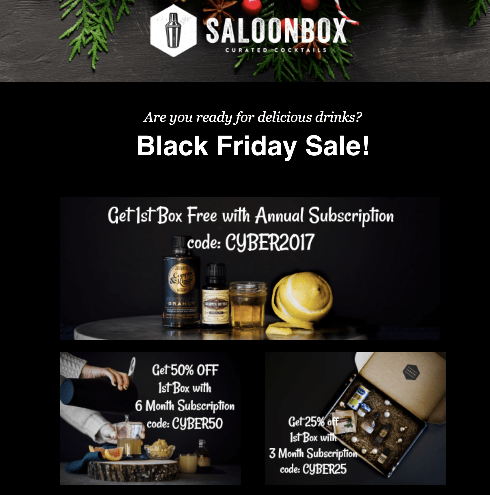 SaloonBox Cocktail Subscription Box Black Friday Deal! 50% Off First Month!