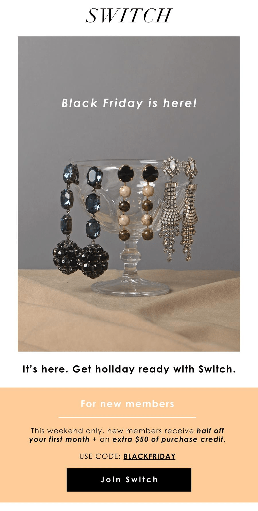 Switch Designer Jewelry Rental Black Friday Deal: $50 Credit + 50% Off First Box!
