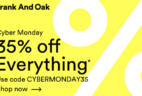 Frank And Oak Cyber Monday Sale 35% Off Sitewide!