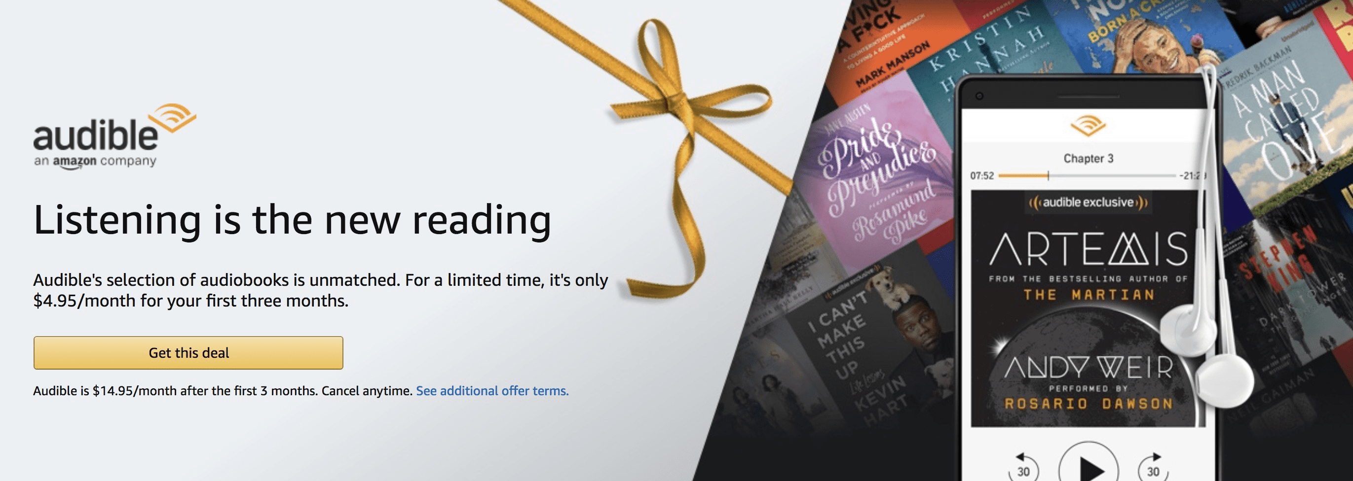 Amazon Audible Cyber Monday Deal: $4.95/Month for 3 Months!