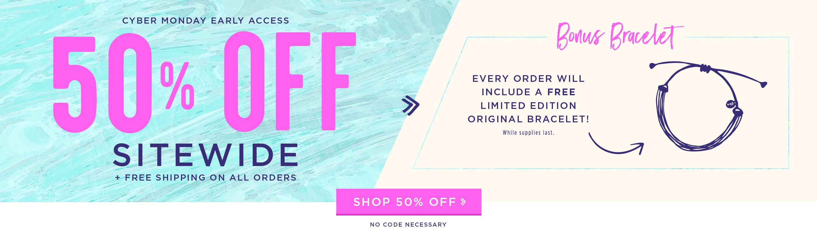Pura Vida Cyber Monday Sale: 50% Off Entire Order + Free Ship + Free Gift!