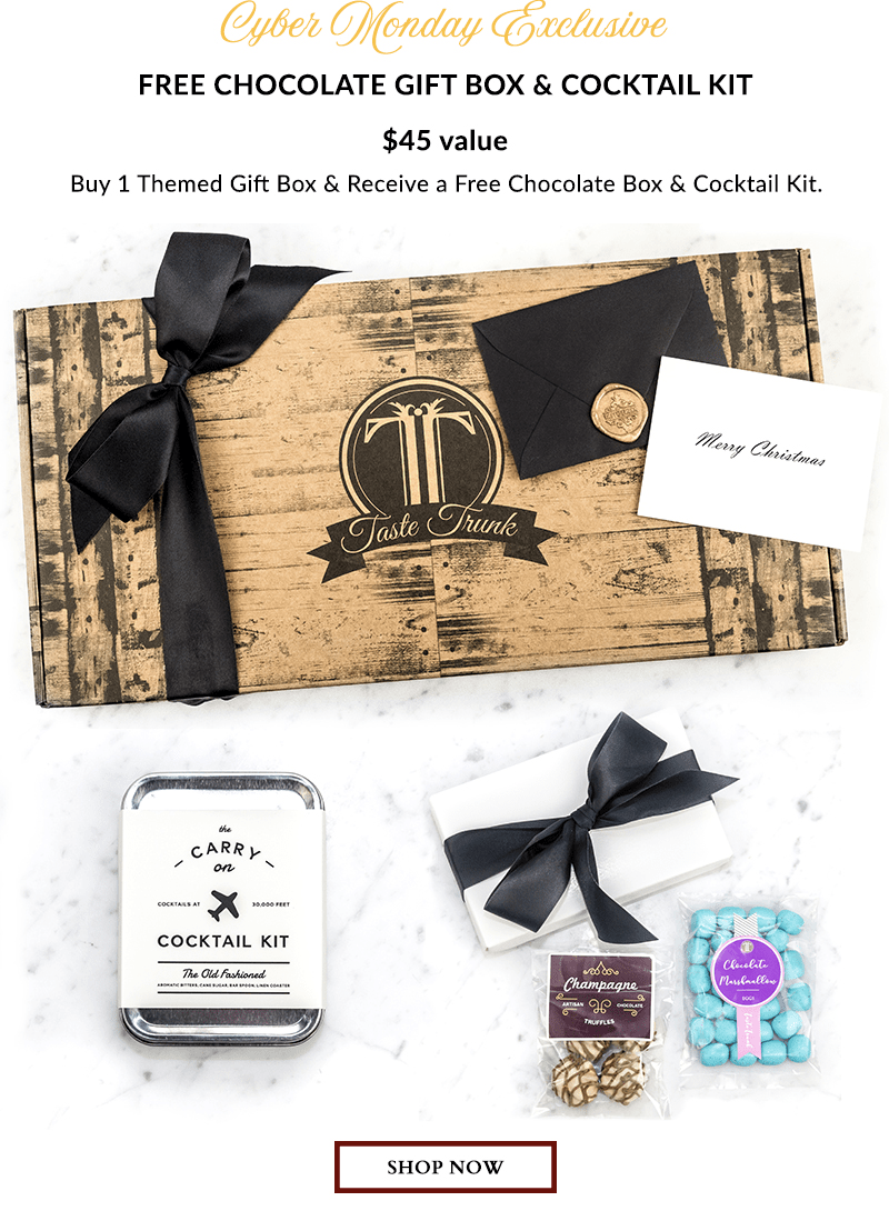 Taste Trunk Cyber Monday BOGO Deal: Buy One Get FREE Chocolate Box + Cocktail Kit!