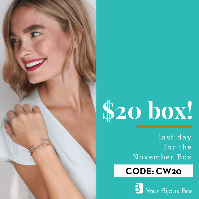 Your Bijoux Box Cyber Week Sale: $20 First Box Today ONLY!