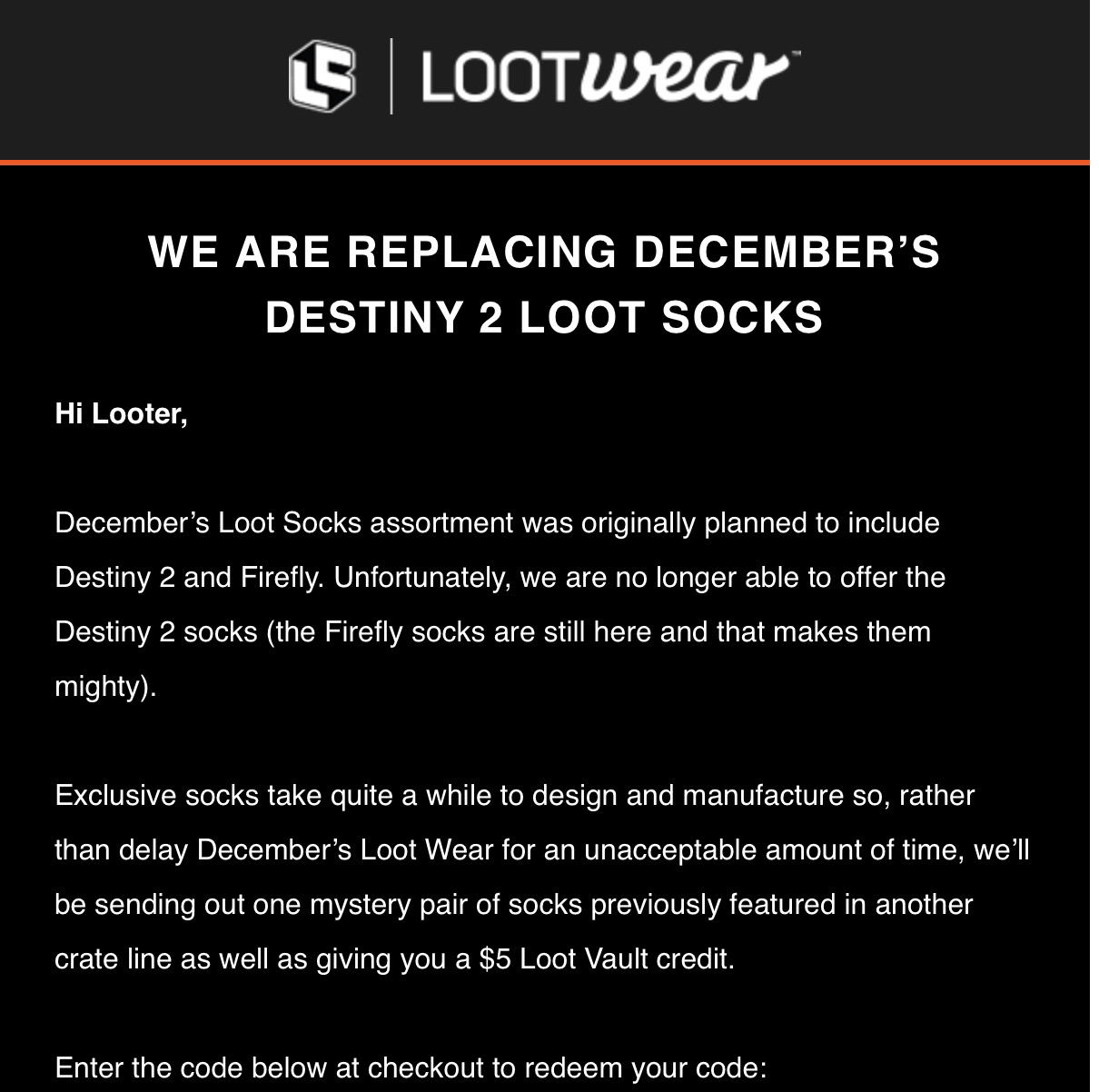 Loot Wear December 2017 Loot Socks Refund Info – Franchise Change