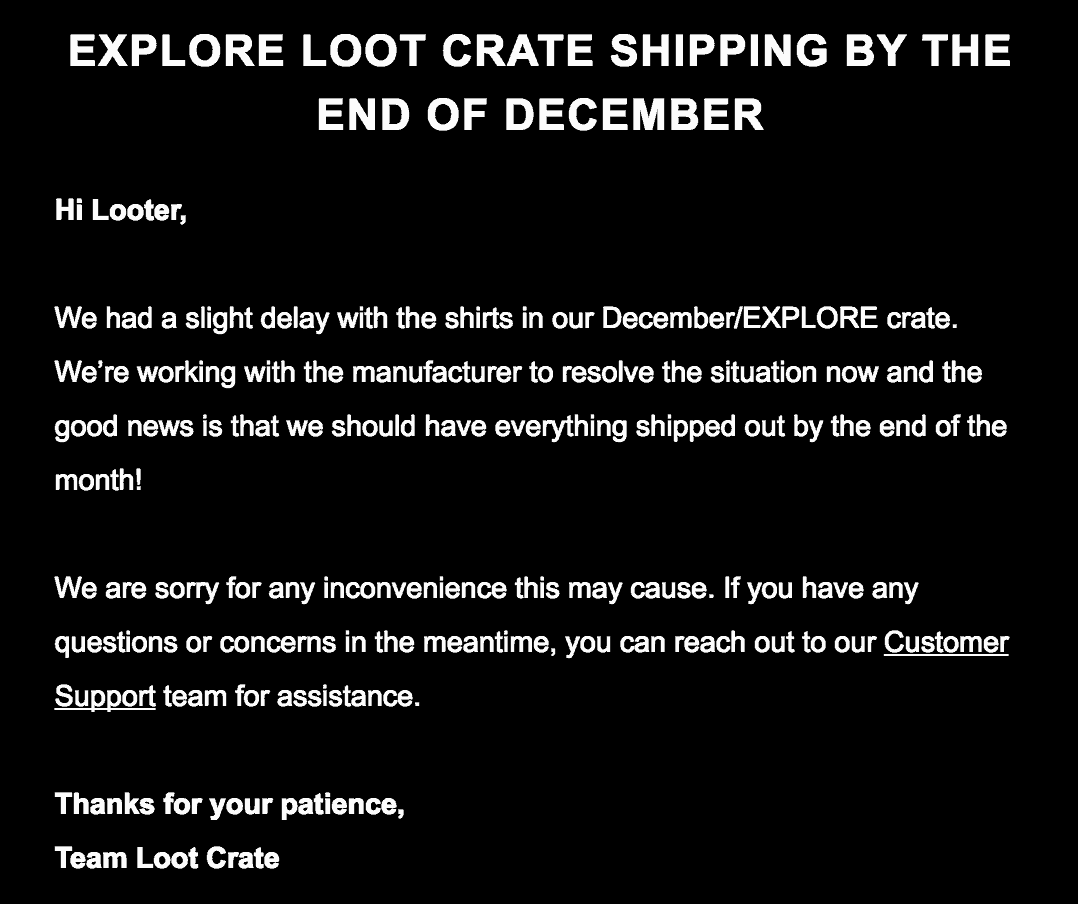 December 2017 Loot Crate Shipping Delay