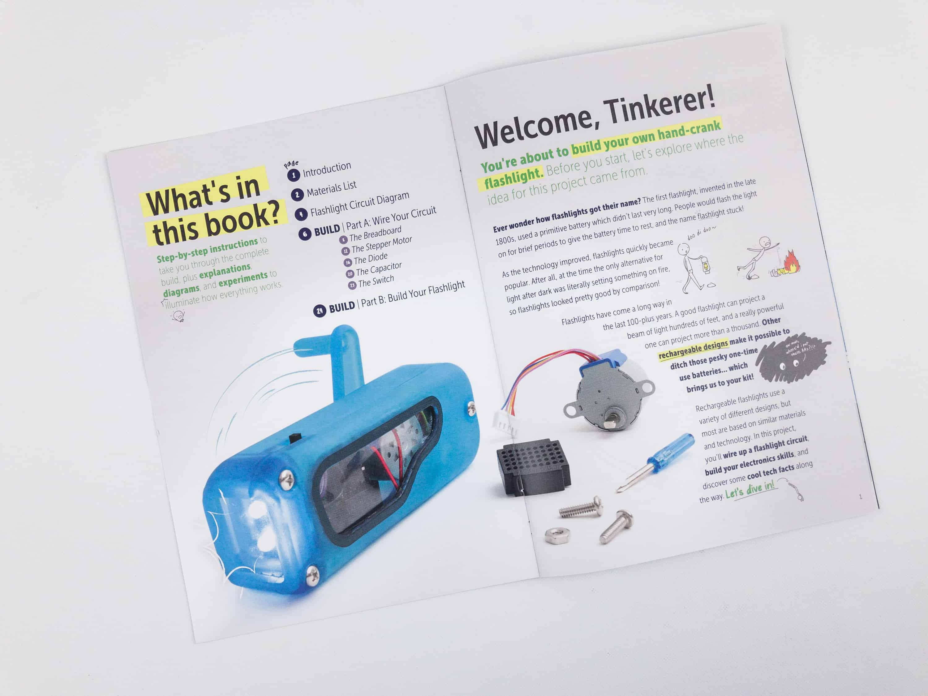 Tinker Crate Electronics Pack Review Flashlight Hello Subscription Circuit Diagrams For Kids The Mini Magazine Does A Great Job Of Explaining Technology And Introducing It In Way That Is Interesting Heres Page Shows Whats
