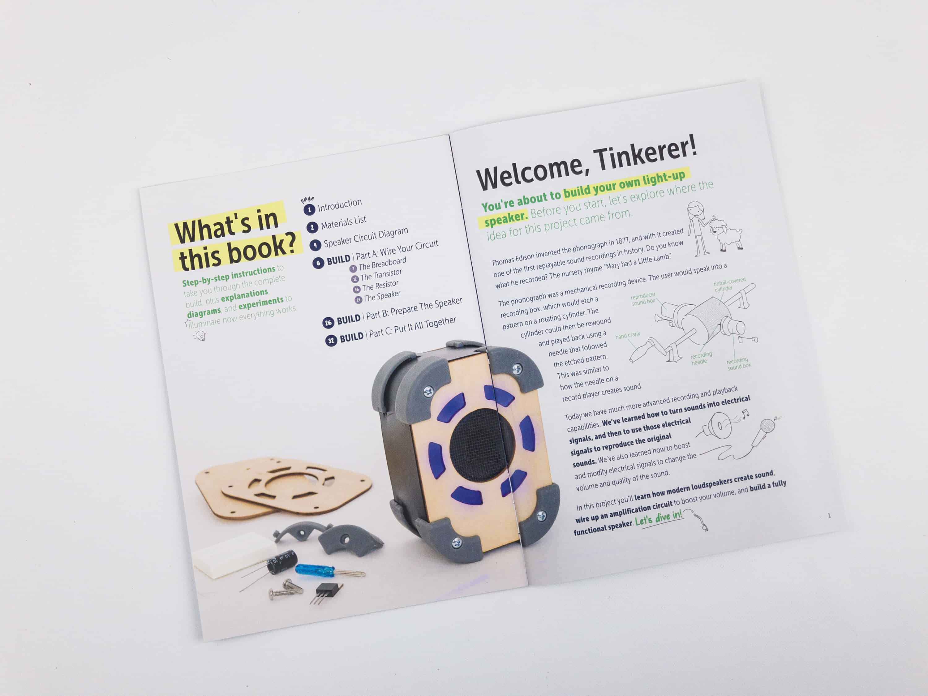 Tinker Crate Electronics Pack Review Light Up Speaker Hello Edison Lamp Wiring Diagram The Instructions And Other Project Info Are Printed On A Mini Magazine