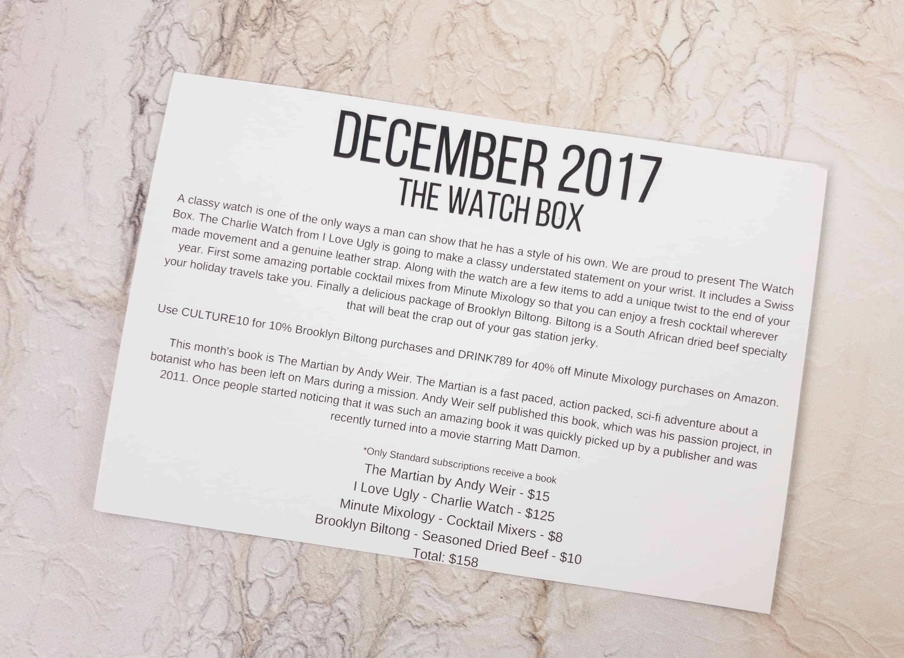 Culture carton december 2017 subscription box review coupon the information card tells you whats in the box providing a value for each item fandeluxe Image collections