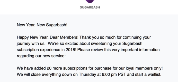 SugarBash Subscription Updates