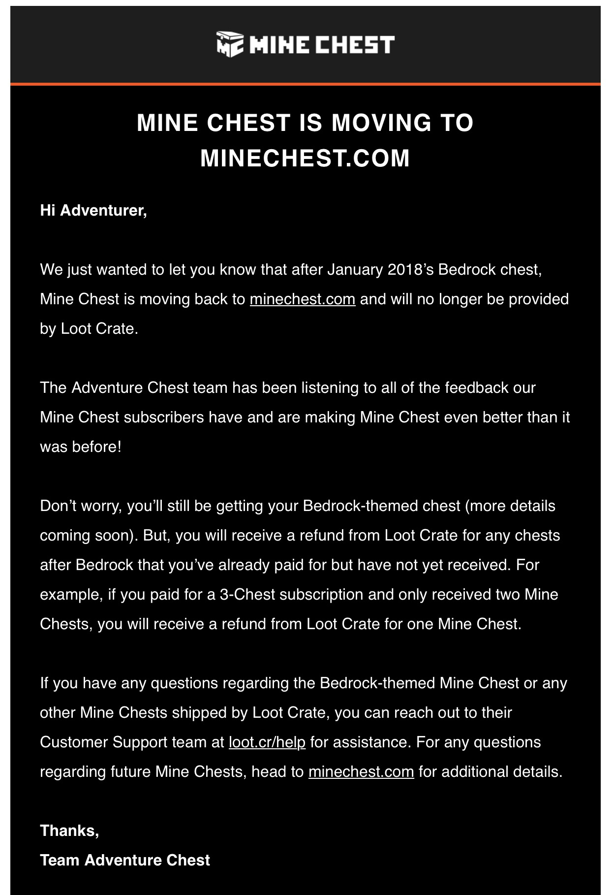 Mine Chest Is Leaving Loot Crate