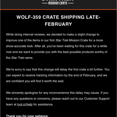 Star Trek: Mission Crate January 2018 Shipping Delay