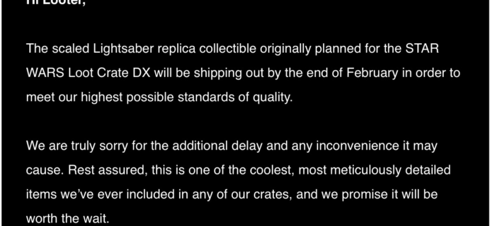 December 2017 Loot Crate DX Shipping Update