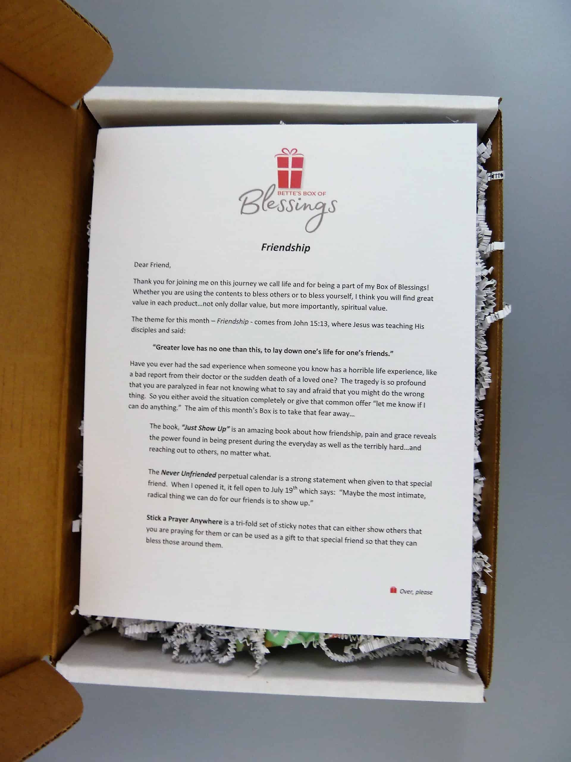 Bettes box of blessings subscription box review coupon february deal get 5 off your first months box use coupon code hello fandeluxe Image collections