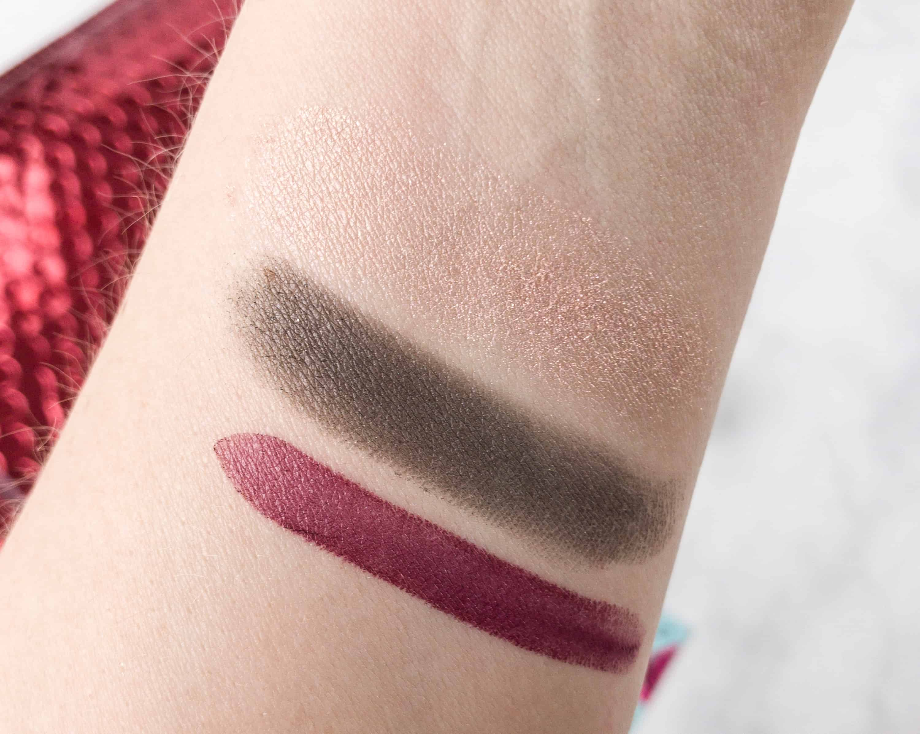 Here Are The Swatches On Top Is Eye Dust Followed By Eyeshadow And Lipstick