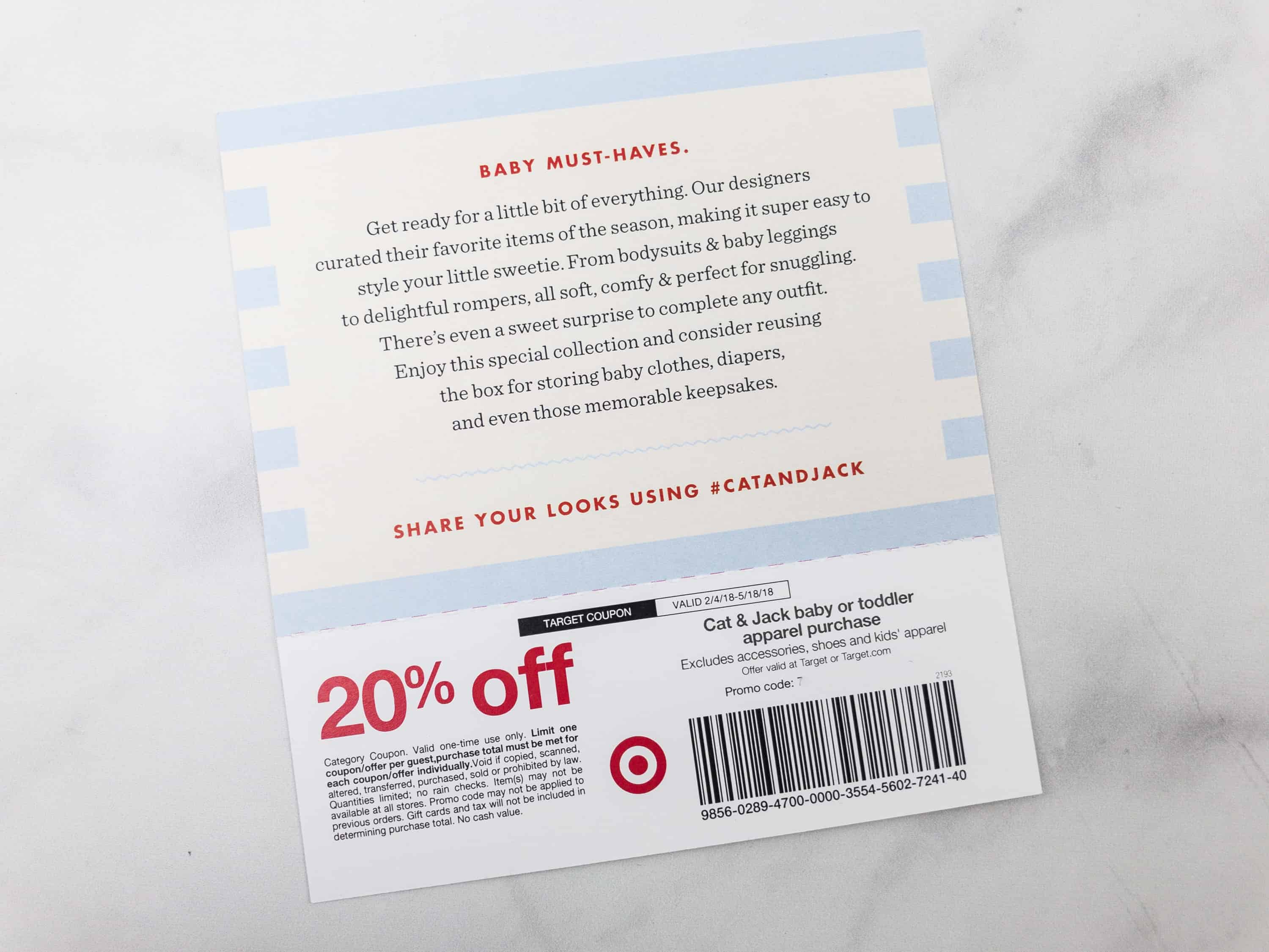 9f07a856 There's even an official hashtag to use. As a bonus, attached to the card  is a coupon for 20% off on all Cat & Jack baby or toddler apparel purchases.